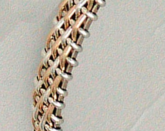 Sterling silver and gold wire wrapped woven mesh bangle bracelet two tone