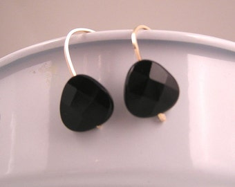 Rose Gold Fill, Gold Fill, Sterling Silver and Black Onyx Earrings Ear Hugs