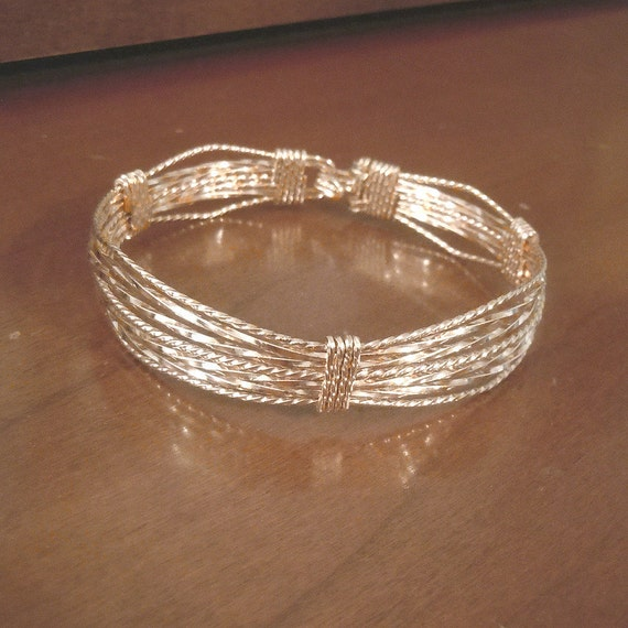 12K gold filled extra wide, thick, bold wire wrapped statement bracelet