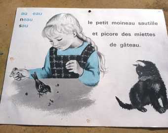 Vintage 1960/60s French educational school poster 2 sides