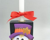 Colorful Snowman With Top Hat Hand Painted Wood Candle Holder