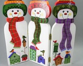 Three Snowmen Birdhouses and Birds Hand Painted Wood Triptych