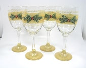 Beautiful Gold Banded Hand Painted Holiday Wine Glasses