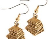 Book Charm Earrings gold pewter surgical steel earwires lead-free USA-made charms