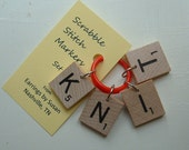 Scrabble Tile Stitch Markers KNIT or your choice of any 4 letters for knitting knitters