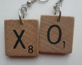 Scrabble Earrings XO for Valentine's Day Vintage Wood Tiles Wooden Letters