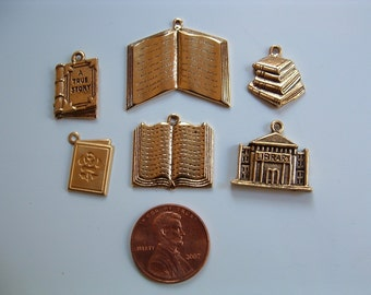 Book charms gold set of 6 different USA-made pewter and brass gold-plated Reading prizes