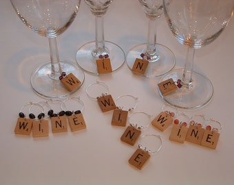 Scrabble Wine Charms or Markers Set of 4 spell WINE vintage wooden letters choose beads
