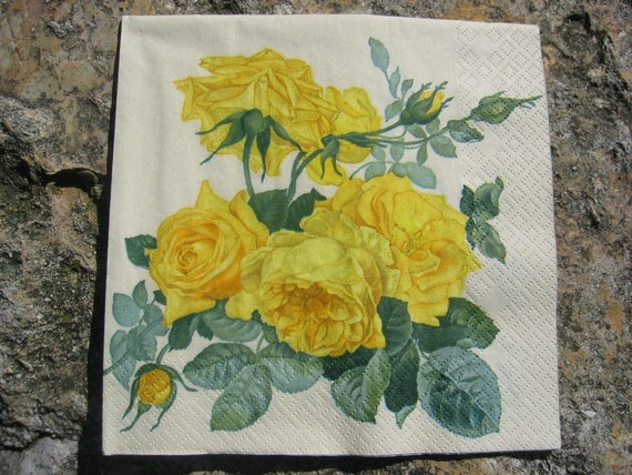 yellow rose paper napkins
