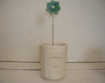 F Is For Flower Or Frank Or Friend Porcelain Alphabet Tumbler
