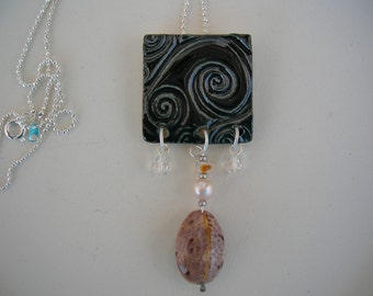 Midnight Wave Porcelain and Shell Necklace