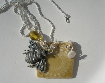 Porcelain Crysanthemum and Silver Bee Tile Necklace