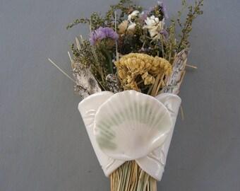 Porcelain Shell Wall Flower Holder