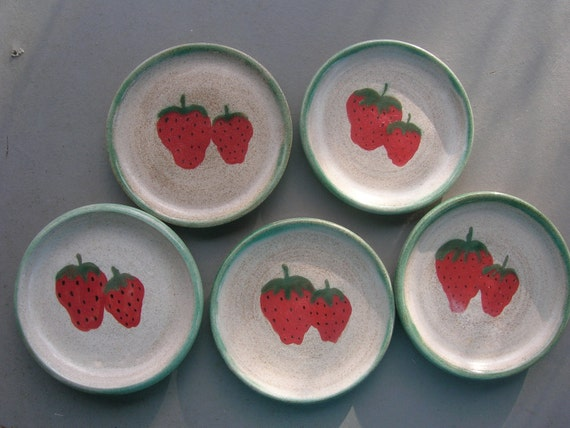 Five Hand Painted Stoneware Strawberry Dishes