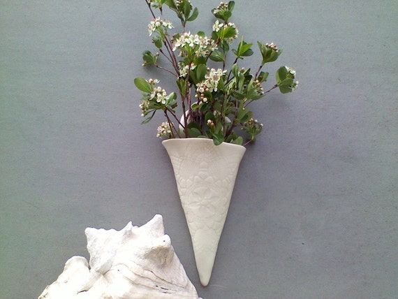 Porcelain Victorian Cone Wall Vase