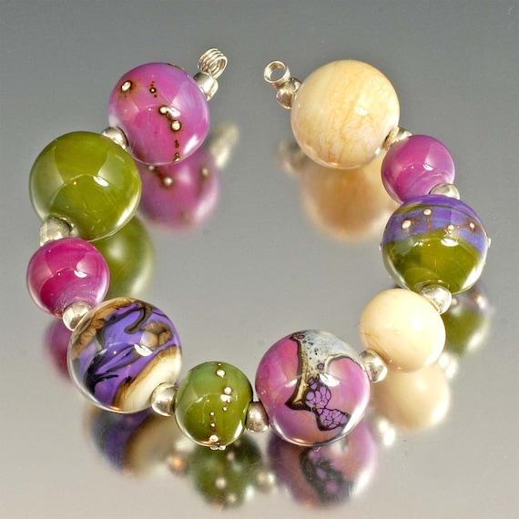 Organic Handmade Lampwork Beads - olive, purple, lavender, ivory - Lavender Fields