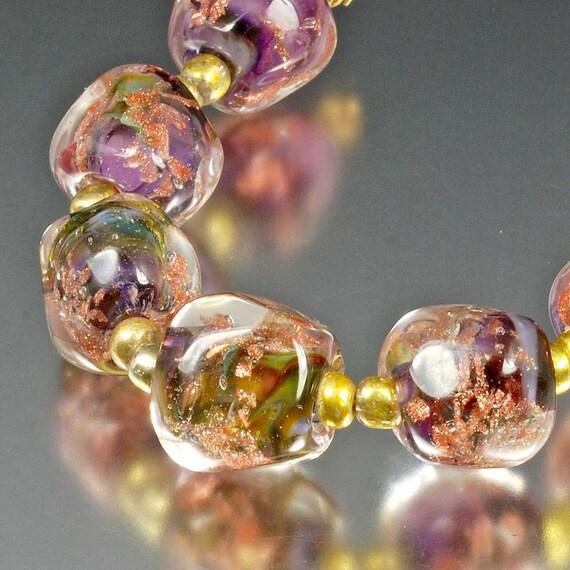 Handmade Lampwork Glass Beads- purple, lavender, olive, gold aventurine - Harvest Sparkle Gems
