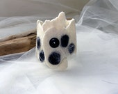 Black and white - felted cuff bracelet - FREE Shipping