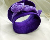 Hand felted cuff- Purple Symphony-  bracelet 2in1-  free shipping