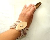 Cream and  chocolate - eco and fashionable felted bracelet - necklace with wood button, natural - katinytis