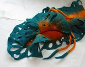 Hand Felted Scarf, felted neckwarmer , felt wool love