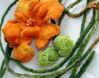 Felted orange belt/ neckalce/ Felt Marigold/ Orange and green/ made to order