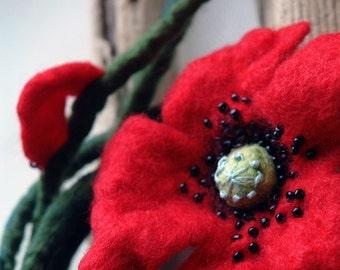 Poppy sing -  Hand Felted Wool Flower necklace/ Belt/ Brooch/ Felt red poppy