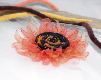 Felted and organza flower brooch -Sunflower dream - orange, cuper and brown