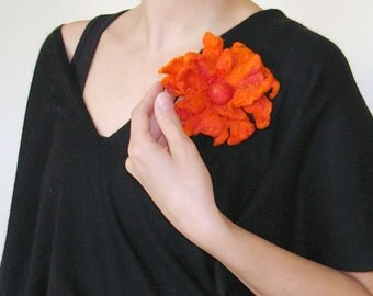 Felt flower brooch- Like orange tongues of flame/ Hand felt flower/ Clothes decoration