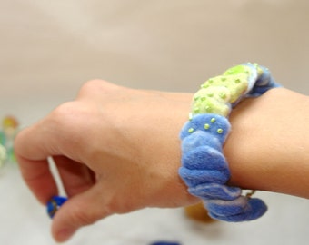 Felted bracelet -Fresh and  New, hand felt wool bracelet, sky blue and fresh green, gift under 20