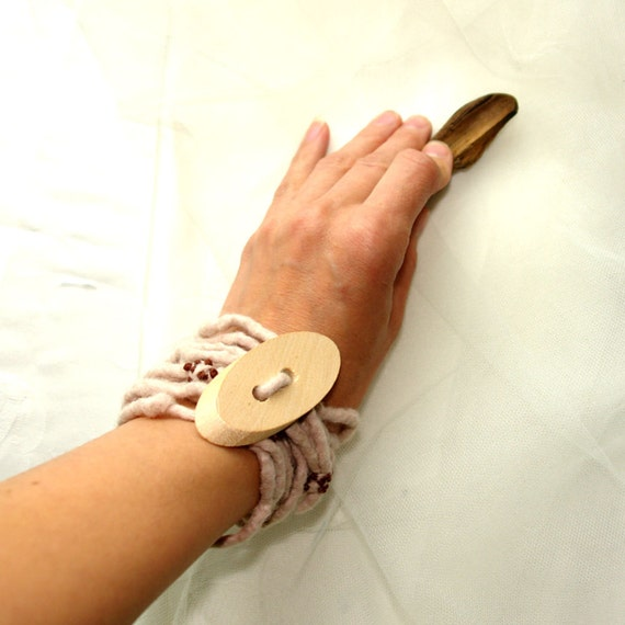 Cream and  chocolate - eco and fashionable felted bracelet - necklace with wood button, natural