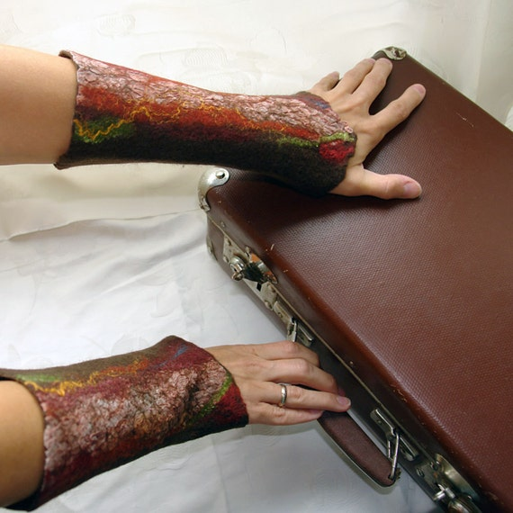 A journey to the autumn land- Hand felted wrist warmers, wristlets, fingerless gloves, cuffs