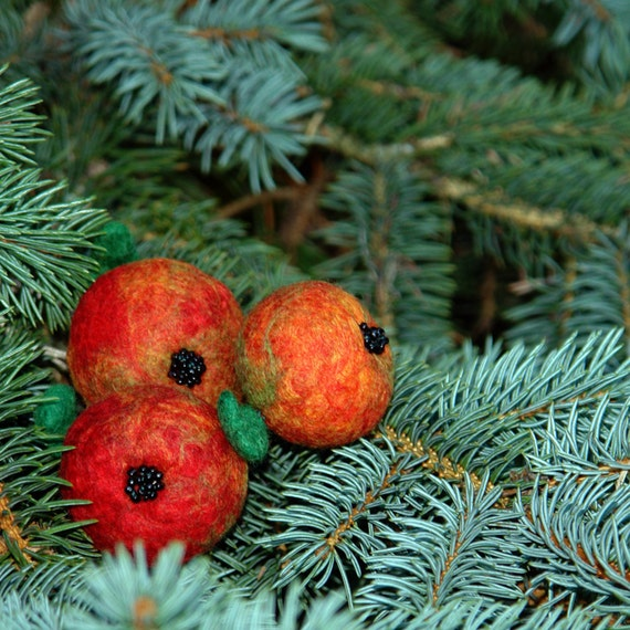 Felt ornaments- Apples of Paradise/ Christmas tree decoration from Europe