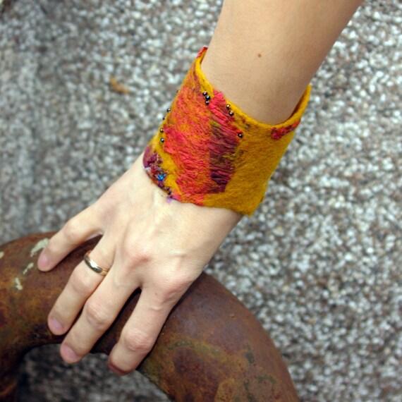 Spices - red and mustard hand felted cuff -bracelet ,felt  wrist warmer