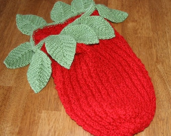 PDF Knit Pattern Strawberry Baby Cocoon Snuggli Photo Prop