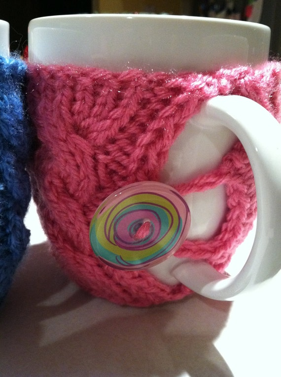 Pink  Knit  Coffee or Tea Cup Cozy