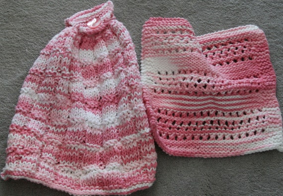 Knit Cotton Hanging Dish Towel and Dishcloth