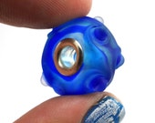 Blue Transparent Lampworked Glass Silver Lined Big Hole Bead