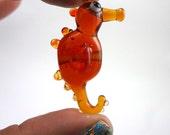 Orange Seahorse Lampworked Glass Figurine Bead