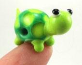 Little Green Turtle Lampworked Glass Figurine Bead