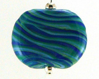 Churning Waters Lampworked Glass Bead Pendant Necklace