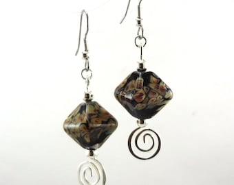 Raku Crystals Lampworked Glass Bead Earrings