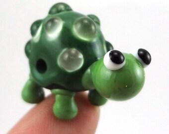 Little Green Bubble Turtle Lampworked Glass Figurine Bead