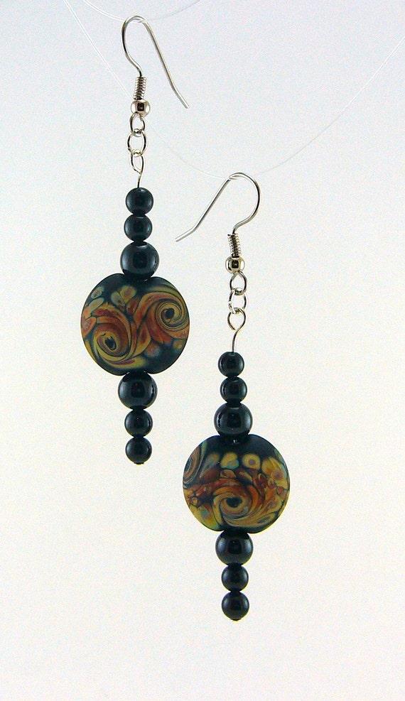 Raku Storm Lampworked Glass Bead Earrings with Onyx