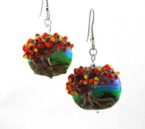 Landscape with Tree in Autumn Lampworked Glass Bead Earrings