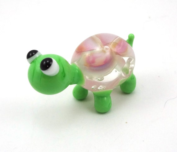 Little Pink Floral Turtle Lampworked Glass Figurine Bead