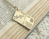 Mini Brass Postcard Charm Necklace - 'From Russia With Love'
