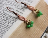 Emerald Bead  Vintage Copper Earrings  Green with Envy