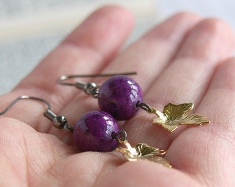 Purple Stone Bead Drop Earrings - 'Gold Leaf'
