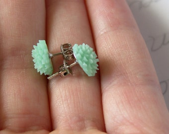 Mint Green Flower Stud / Post Earrings - Mini Chrysanthemums